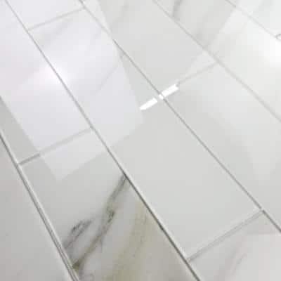 Handmade Decor Calacatta White Marble Look Large Format 4 in. x 16 in. Glossy Glass Wall Tile (6 Pc/Pack)