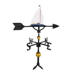 32 in. Deluxe Black Sailboat Weathervane