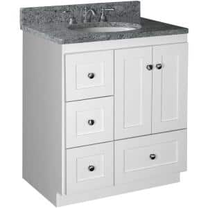 Shaker 30 in. W x 21 in. D x 34.5 in. H Simplicity Vanity with Left Drawers in Satin White