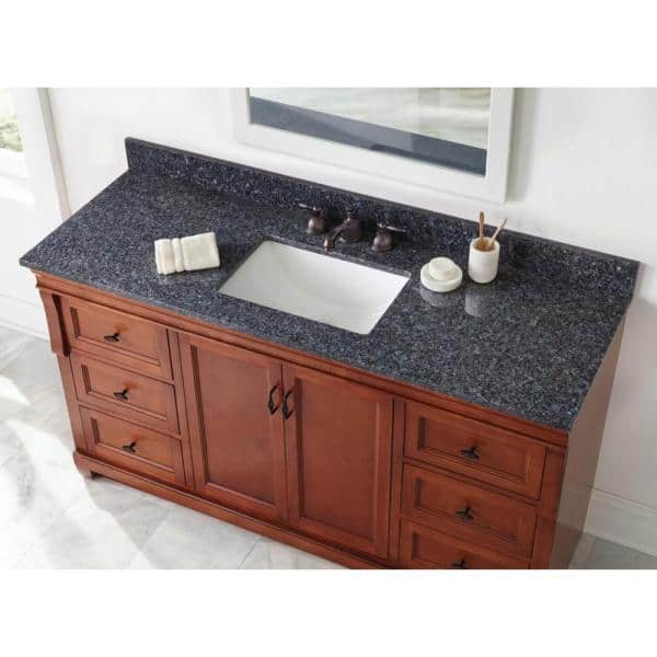 Home Decorators Collection 61 In W X 22 In D Granite Single Sink Vanity Top In Blue Pearl With White Trough Sink 63905 The Home Depot