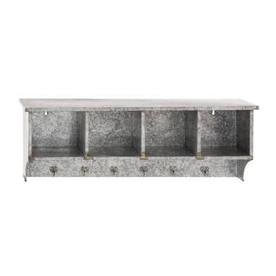 12 in. x 37 in. Grey Metal Farmhouse Wall Shelf
