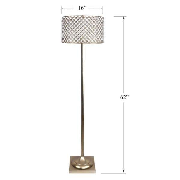 Grandview Gallery 62 In Gold Plated, Crystal Square Base Table Lamp