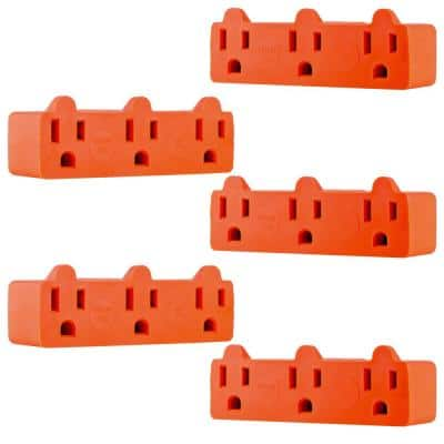 Heavy-Duty 3-Outlet Grounded Tap Adapter Plug, Orange (5-Pack)