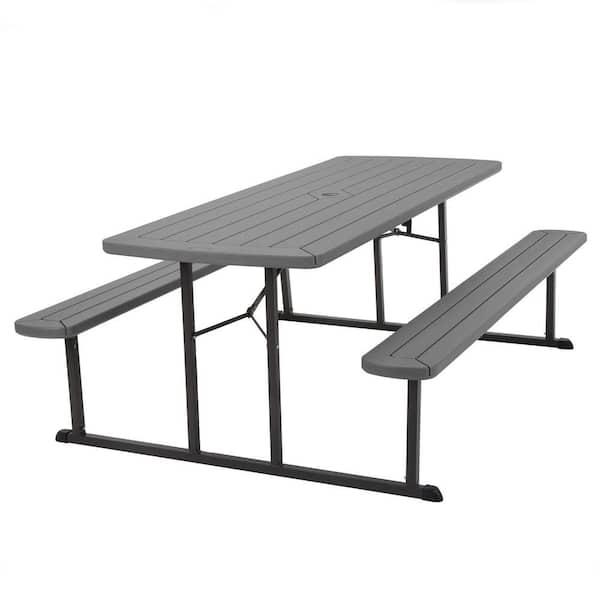 Cosco 6 Ft Dark Gray Wood Grain, Plastic Feet For Outdoor Furniture Home Depot