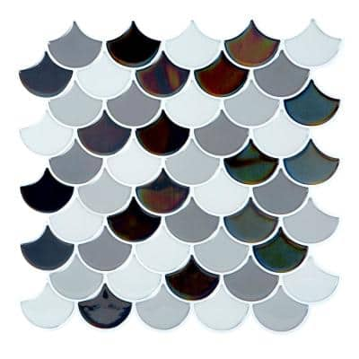 10.2 in. x 10.2 in. Scallop Greys PVC Peel and Stick Tile (2.75 sq. ft./4-Pack)