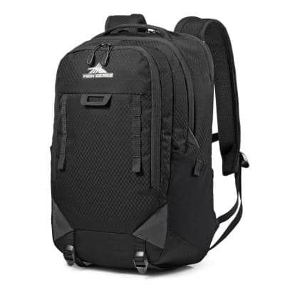 Litmus Heavy Duty 6.2 in. Rugged Fabric Travel Laptop Hiking Backpack, Black