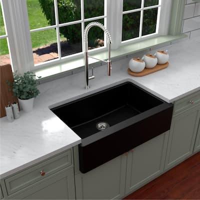 Farmhouse/Apron-Front Quartz Composite 34 in. Single Bowl Kitchen Sink in Black