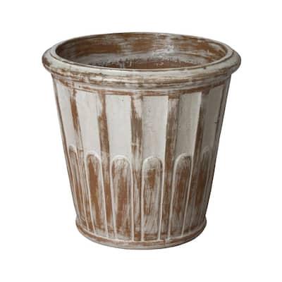22 in. Wash Walnut Ceramic Round Planter
