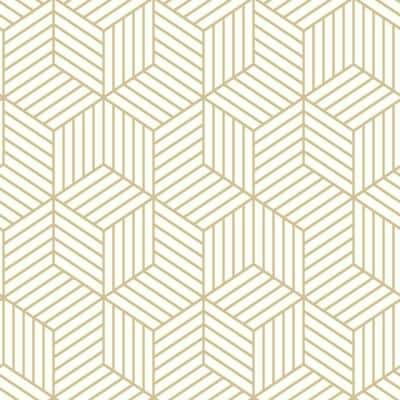 Striped Hexagon White And Gold Geometric Vinyl Peel & Stick Wallpaper Roll (Covers 28.18 Sq. Ft.)