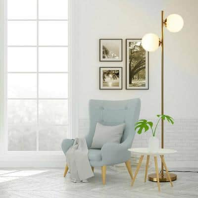 65 in. Gold Outdoor LED Floor Lamp with Foot Switch and 2 Light Bulbs