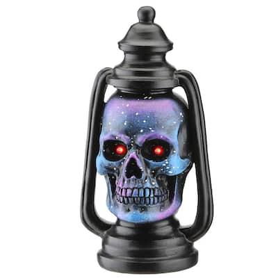 10 in. LED Lit Purple Galaxy Skull Lantern, Battery Operated