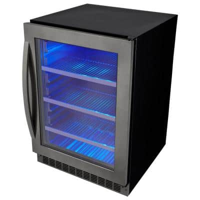 24 in. 6-bottle Wine and 138-Can Built-In Beverage Cooler in Black Stainless