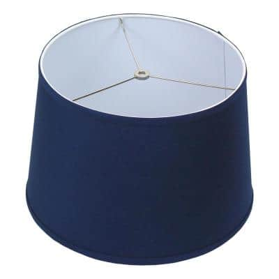 Fenchel Shades 13 in. Top Diameter x 15 in. Bottom Diameter x 10 in. Slant,  Empire Lamp Shade - Linen Navy Blue