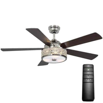 Montclaire 52 in. LED Polished Nickel Ceiling Fan with Light Kit and Remote Control