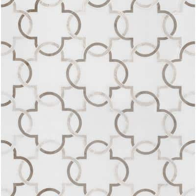 Bianco Quatrefoil 12 in. x 12 in. x 10mm Polished Marble Mesh-Mounted Mosaic Tile (5 sq. ft. / Case)