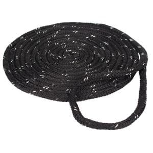 1/2 in. x 25 ft. Reflective Dock Line Double Braid Nylon Rope, Black