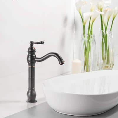 Single Handle Single Hole Bathroom Faucet with Drian Kit Included in Oil Rubbed Bronze