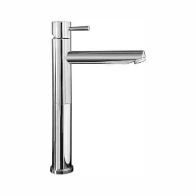 Serin Single Hole 1-Handle Mid-Arc Vessel Bathroom Faucet with Grid Drain in Chrome