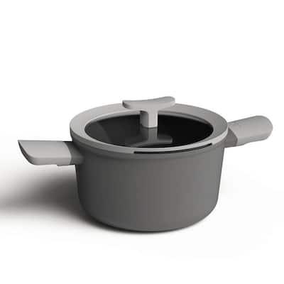 Leo 3.3 qt. Aluminum Nonstick Casserole Dish in Grey with Glass Lid