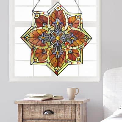 Red Grand Halston Stained Glass Window Panel