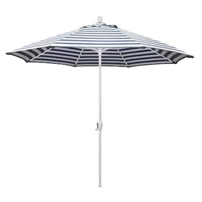 9 ft. Aluminum Market Push Tilt - Matte White Patio Umbrella in Navy White Cabana Stripe Olefin