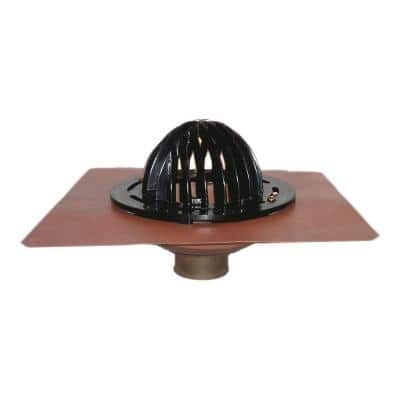 4 in. No-Hub Bottom Outlet Roof Drain with ABS Dome Strainer