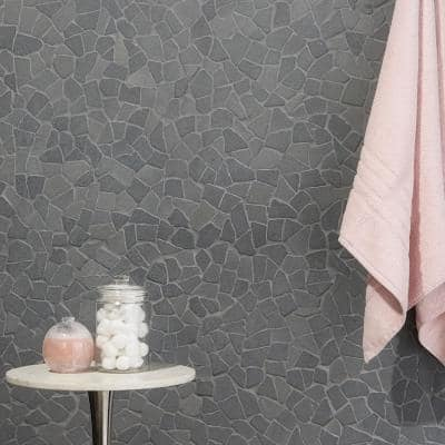 Countryside Tumbled 11.81 in. x 11.81 in. Black Lava Floor and Wall Mosaic (0.97 sq. ft. / sheet)