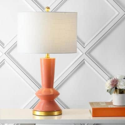 Ziggy 27 in. Coral/Brass Gold Ceramic/Metal Contemporary Glam LED Table Lamp
