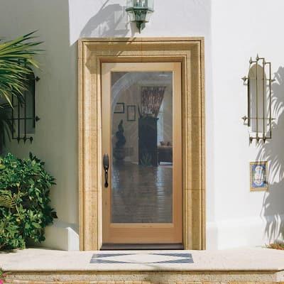 36 in. x 80 in. Full Lite Unfinished Fir Front Exterior Door Slab