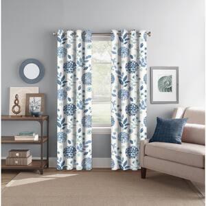 Indigo/Aqua Floral Back Tab Room Darkening Curtain - 52 in. W x 84 in. L