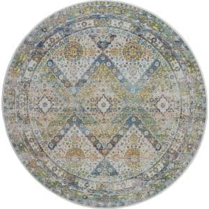 Global Vintage Blue/Green 6 ft. x 6 ft. Oriental Traditional Round Area Rug