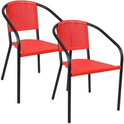 Aderes Black Plastic Outdoor Arm Chair in Red Seat and Back (Set of 2)