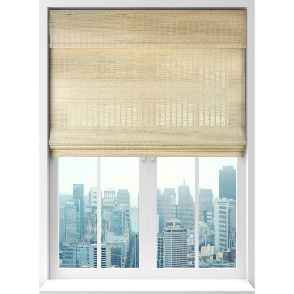 calyxinteriors Seaside Natural Cordless Light Filtering Bamboo Woven Roman  Shade 12 in. W x 12 in. L 12CBA120120   The Home Depot