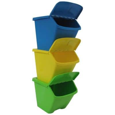 30 Gal. Multi-Color Stackable Outdoor Recycling Bin (3-Pack)