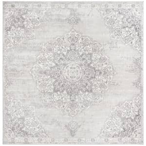 Brentwood Gray/Ivory 5 ft. x 5 ft. Square Geometric Area Rug