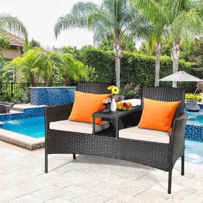 3-Piece Rattan Wicker Patio Conversation Set with Loveseat Table and Gray Cushions