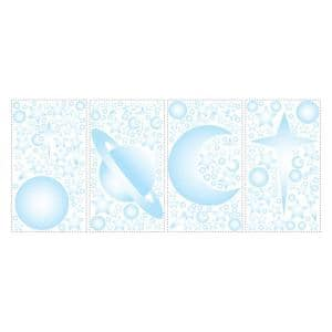 10 in. x 18 in. Celestial 258-Piece Peel and Stick Wall Decals