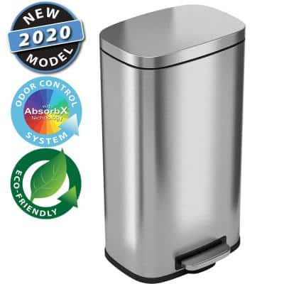 SoftStep 8 Gal. Stainless Steel Step Trash Can with Odor Filter and Inner Bucket for Office and Kitchen