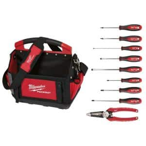 15 in. PACKOUT Tote with 6-in-1 Wire Strippers Pliers and Screwdriver Set (10-Piece)