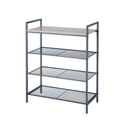12.87 in. H x 31.88 in. W 4-Tier Metal Shelf Storage Unit with Wood Top in Black