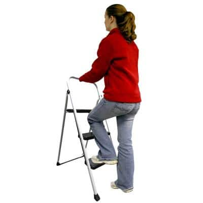 3-Step Metal Folding Utility Step Stool Ladder with 200 lbs. Capacity