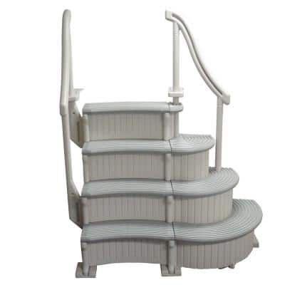 4-Step Curved Grand Entry System Steps Stairs for Above Ground Swimming Pool