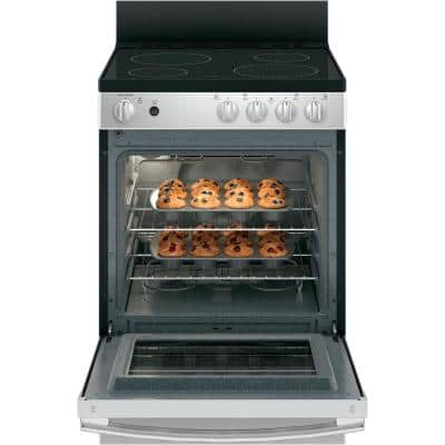 24 in. 2.9 cu. ft. Electric Range with Steam-Cleaning Oven in Stainless Steel