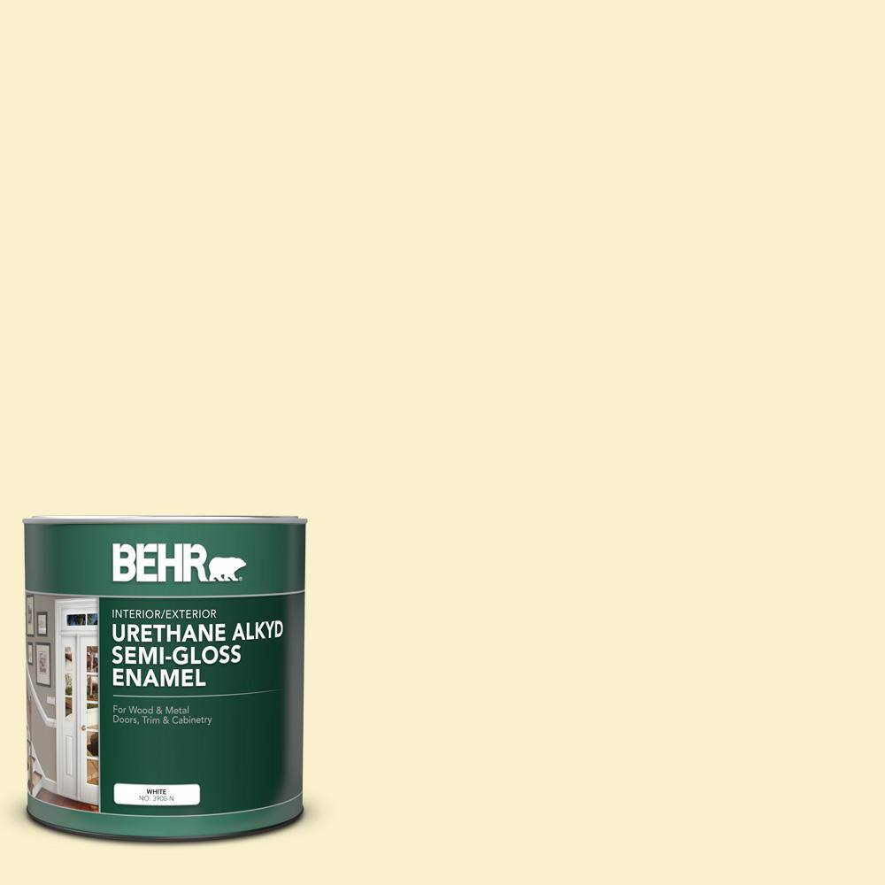Behr 1 Qt 370a 1 Moon Mist Semi Gloss Enamel Urethane Alkyd Interior Exterior Paint 390004 The Home Depot