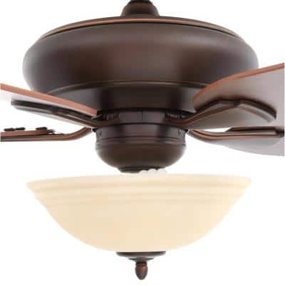 Flowe 52 in. Indoor LED Mediterranean Bronze Ceiling Fan with 5 Reversible Blades, Light Kit and Remote Control