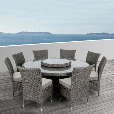 Habra III 9-Piece Aluminum Frame with Brown Wicker Round Outdoor Dining Set with Cushions