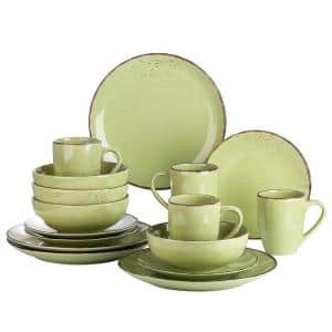 Series Navia Prato Dinner Set 16-Pieces Vintage Grass green Prcelain with Dinner/Dessert Plate/Bowl /Mug (Service for 4)