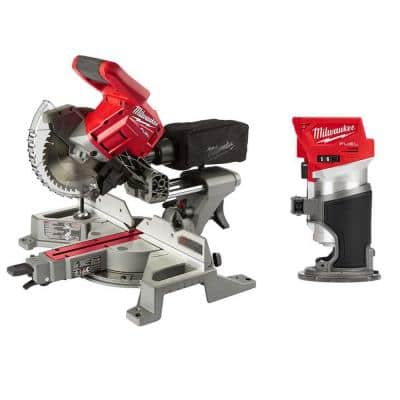 M18 FUEL 18-Volt Lithium-Ion Brushless 7-1/4 in. Cordless Dual Bevel Sliding Compound Miter Saw with Compact Router