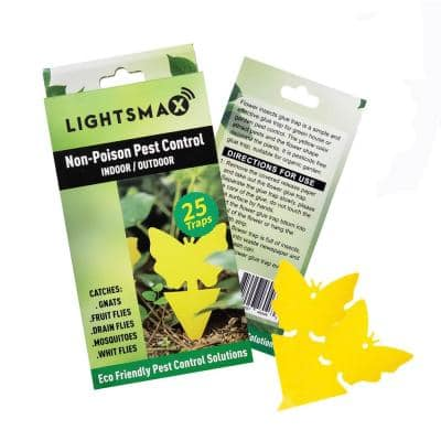 Yellow Sticky Bug Traps for White Flies Mosquitos Fungus Gnats (25-Pack)