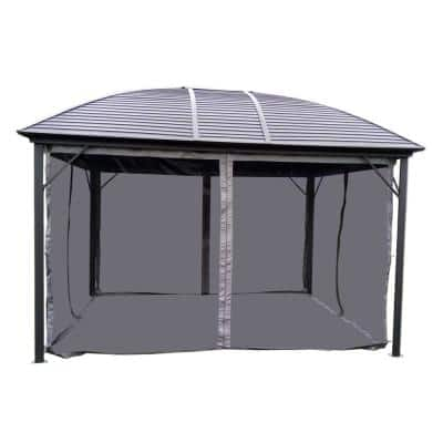 10 ft. x 12 ft. Gray Gazebo with Mesh
